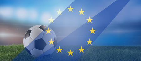 soccer ball and Europe overlay background 3d-illustration Фото со стока