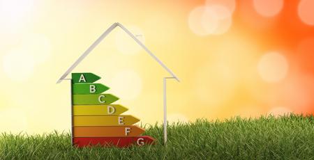 3d-ilustración símbolo casa eficiencia energética