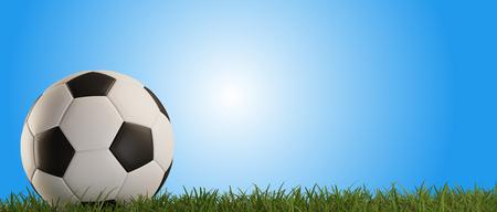 soccer ball green grass blue background 3d-illustration Imagens