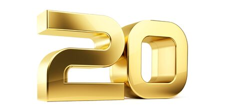 20 símbolo de letras doradas en negrita Ilustración 3D
