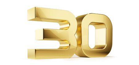30 golden bold letters symbol 3D-Illustration Фото со стока