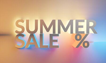 summer sale blurred bright background 3d-illustration