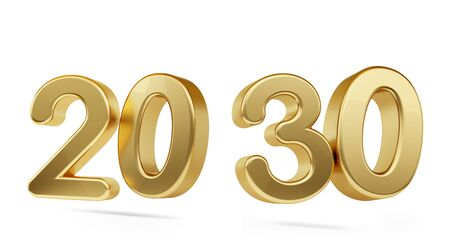 twenty thirty bold golden number 3d-illustration Фото со стока - 126338819