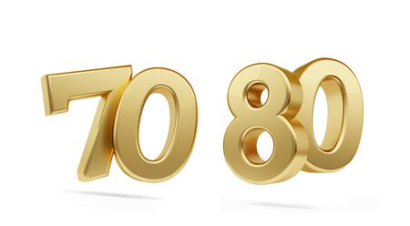 setenta ochenta negrita número de oro 3d-ilustración Foto de archivo