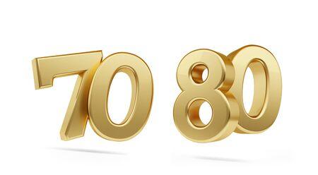 settanta ottanta grassetto numero d'oro 3d-illustrazione Archivio Fotografico