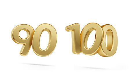 ninety one hundred bold golden number 3d-illustration Фото со стока