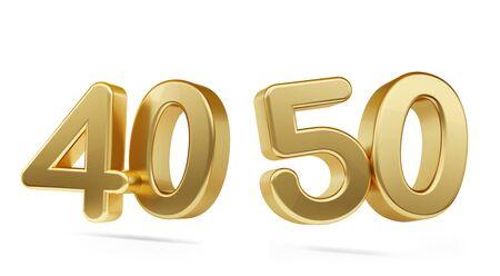 forty fifty bold golden number 3d-illustration