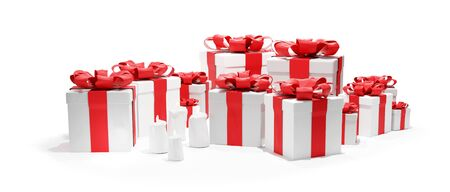 Isolated on white festive presents 3d illustration