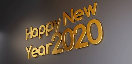 happy new year 2020 golden bold letters 3d-illustration Stockfoto