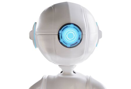robot white blue one eye A.I. 3d-illustration