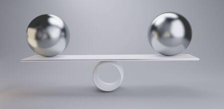 chrome balls on a scale 3d-illustration light grey white Archivio Fotografico - 127115253