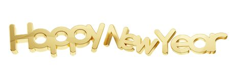 happy new year golden isolated bold letters 3d-illustration 免版税图像