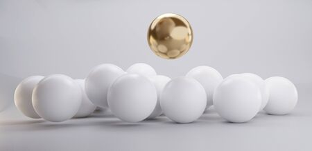 golden sphere with pile of white spheres 3d-illustration