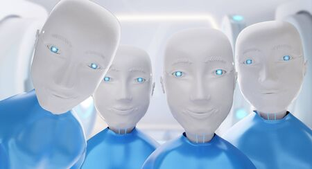 never seen before. analysis. Group of friendly happy robots looks very carefully 3d-illustration
