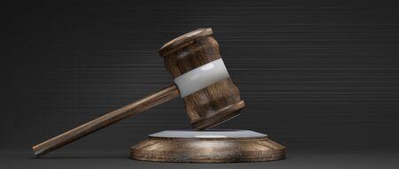 wooden judge gavel on dark background 3d-illustration