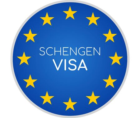 Schengen visa creative abstract symbol icon 3d-illustration
