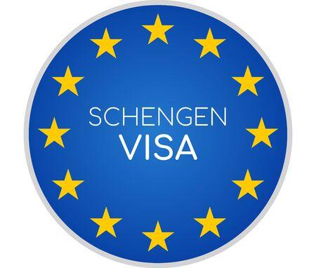 Schengen-Visum kreative abstrakte Symbolsymbol 3D-Illustration Standard-Bild