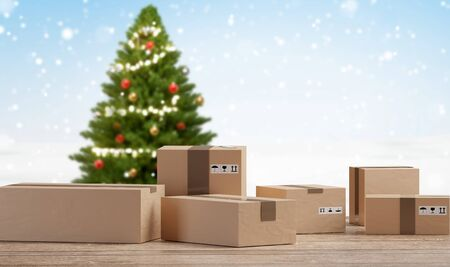 Christmas postal packages front of blurred fir and snowflakes 3d-illustration