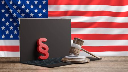 computer with wooden judge gavel and red paragraph in front of a flag of the United States of America 3d-illustration