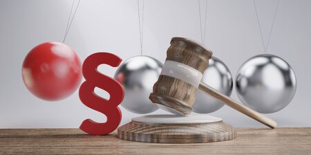 paragraph wooden judge gavel in front of a Pendulum red and metallic 3d-illustration background Banco de Imagens