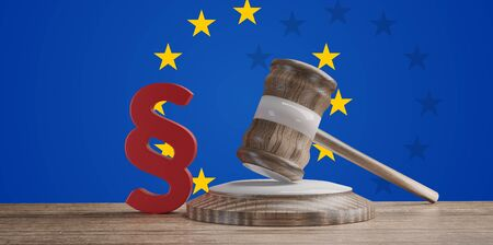wooden judge gavel with red paragraph in front of creative abstract Europe background 3d-illustration