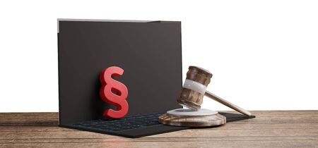 red paragraph and judge gavel on a computer on a wooden floor 3d-illustration Stock fotó