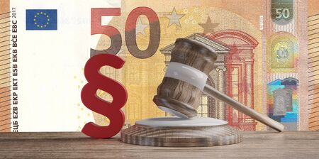 red paragraph and judge gavel in front of a fifty Euro banknotes 3d-illustration 写真素材