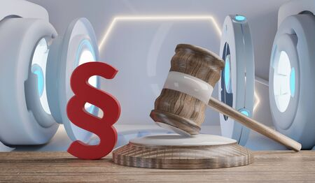 red paragraph and judge gavel in front of creative technology background 3d-illustration