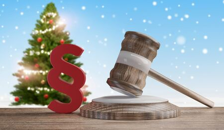 red paragraph and judge gavel in front of a winter background 3d-illustration