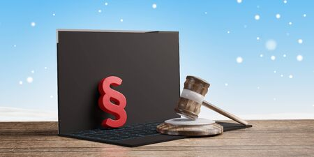 a computer and red paragraph and judge gavel in front of a winter background 3d-illustration