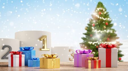 podium with first second third and christmas presents with decorated tree 3d-illustration