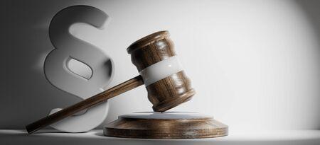 paragrafo e martello giudice in legno 3d-illustrazione
