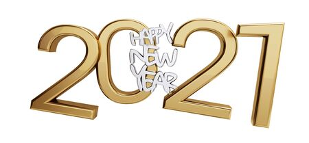 happy new year 2021 golden isolated bold letters 3d-illustration