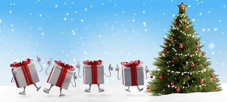 Christmas presents and tree background with snowflakes 3d-illustration