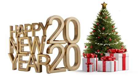Christmas tree and happy new year 2020 golden 3d-illustration