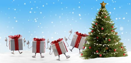 happy Christmas presents and tree backdrop 3d-illustration