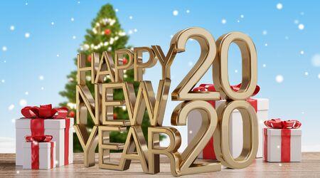 2020 Christmas presents and tree background 3d-illustration Zdjęcie Seryjne