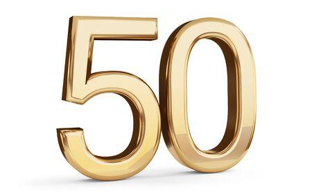 50 golden bold letters isolated on white 3d-illustration Stock fotó