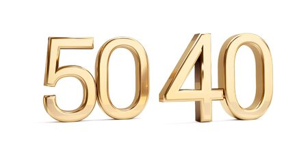 50 40 golden bold letters isolated on white 3d-illustration