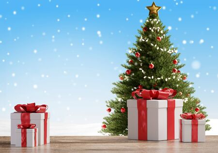 Christmas tree and christmas presents 3d-illustration