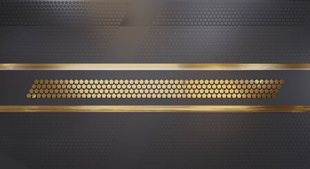 background dark and golden with pentagons design elements 3d-illustration