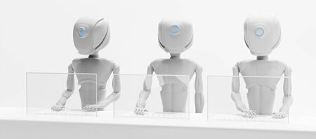 robot artificial intelligence with screen and keyboard on desk 3d-illustration Foto de archivo - 129779888