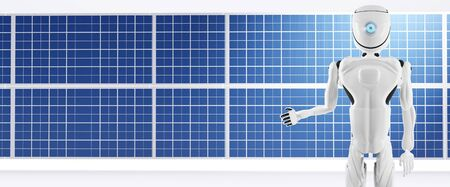 solar module panel and artificial intelligence robot white 3d-illustration Foto de archivo - 129779899