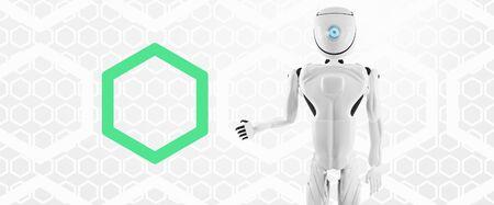 artificial intelligence robot white 3d-illustration Foto de archivo - 129779906