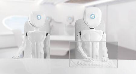 artificial intelligence robot white modern 3d-illustration Foto de archivo - 129780146