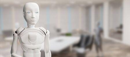 artificial intelligence robot white 3d-illustration Foto de archivo - 129780152