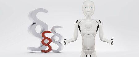 paragraph symbol artificial intelligence robot white 3d-illustration Foto de archivo - 129780154