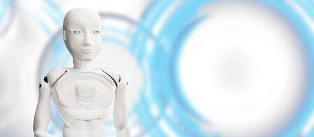 artificial intelligence robot white 3d-illustration Foto de archivo - 129780171