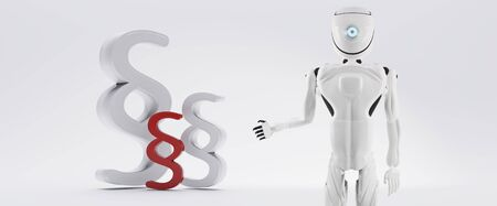 paragraph symbol and artificial intelligence robot white 3d-illustration Foto de archivo - 129780174