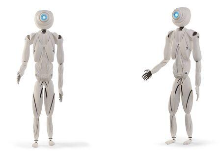 artificial intelligence robots white 3d-illustration Foto de archivo - 129779944